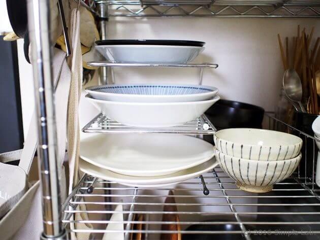 キッチン 収納方法 食器  ステンレスラック