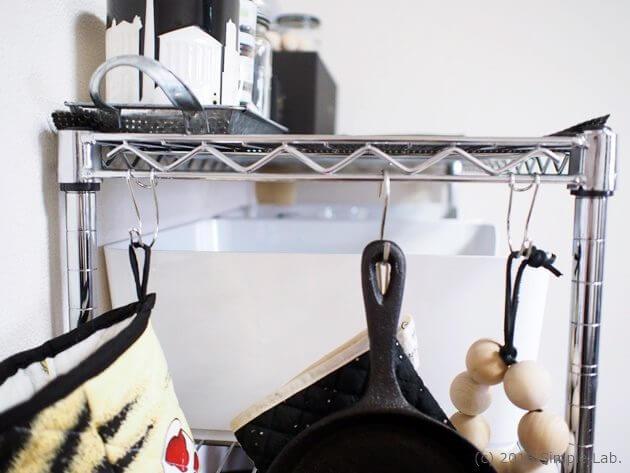 キッチン ステンレスラック S字フック 無印良品 横ブレしにくいフック