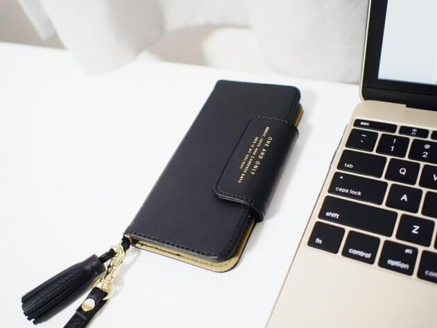 iPhone アイフォン 手帳型ケース シンプル ブラック タッセル