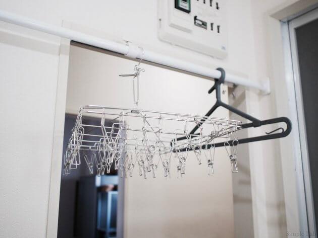 洗面所 洗濯 物干し 突っ張り棒 動線